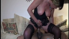 Horny cuckold wife takes his black snake in her ass 2