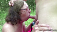 71yr old Hairy Grandma fuck outdoor by 18yr old German Boy