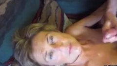 Face of grandma splashed with cum
