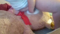 Young Chubby Girl humps giant teddy till orgasm