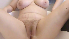 Close-up hairy pussy peeing and rubbing at the same time 1