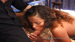 French girls doing a guy in 3some interracial inside a bar