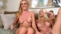Two Horny Blonde Lesbian Milfs Toying Pussies On Webcam