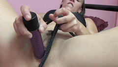 Naughty nympho Nicci Taylor gets off with a big dildo