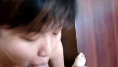 Oriental honey sucking cock and fucking her BF