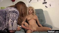 Sexy blonde doll eats some pussy