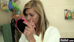 Hot blonde plays with herself before showering