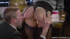 Blonde MILF with glasses Rebecca Moore giving head