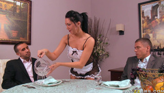 Double penetration after dinner with maid Mason Moore