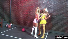 Sexy babes fucked in the alley
