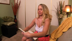 Taboo Handjobs - Dumb Blonde Stepdaughter gives Dad a h
