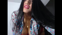 Sexy Long Haired Colombian Hairplay and Striptease