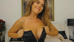 Beautiful Champagnea in black lether lingerie