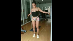 Young Sister skipping rope titties drop