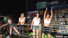 Naughty girls get naked on the stage