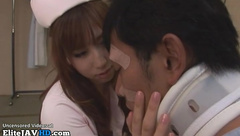 Japanese horny nurse having sex with her patient