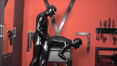 Rubber Doll bound on bondage horse and used (part 2)