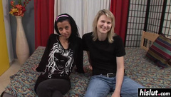 Two skinny girls have fun together
