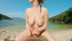 Ruined Orgasm Ginger Handjob on the Beach | Edging and Denial in Public