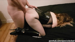 Slave girl in ballet boots and spreader bar fucked hard in the ass