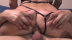 Real Amateur Deep Anal Fuck - Young Milf in sexy outfit POV
