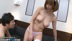 Japanese maid in uniform fucks her boss at home