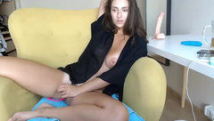 Charming Brunette Gets Her Slot Wet By Masturbating With Fingers