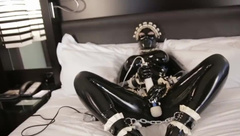 Latex Mistress and Latex Maid in 10 Cuffed Vibrator Orgasms and Crying