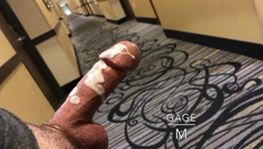 BIG LOAD PUBLIC CUM: Stroking in Hotel Hallway. Spy loud fucking Voyeur toy