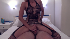 Best Reverse Cowgirl Ride - Big Cumshot For Hot Teen In Black Lingerie