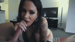 Huge Tits Babe Gives Blowjob and Spits cum all Over Her Big tits