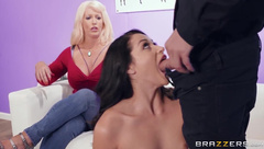 Busty mom helps stepdaughter during porn audition