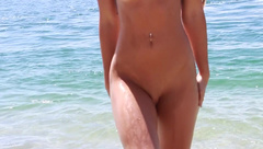 SecretCrush - SECRETCRUSH - Big Booty Oiled Swimsuit Teen Risky Public Stripping On Beach private premium video