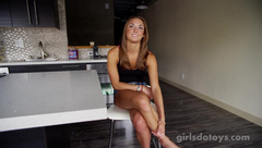 Hot petite brunette masturbates on camera for the first time ever