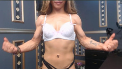 Young girl flexing incredible biceps and veins 2
