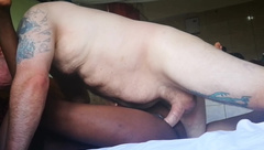 LBFM EBONY MASSAGE GIRL TAKES ON A WHITE COCK