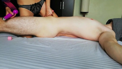Edge play with sex toy was so intense, I came before I could fuck her