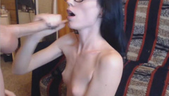 sexy brunette hot little tits sucks cock for cum facial