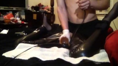 tied up latex toys and made to cum