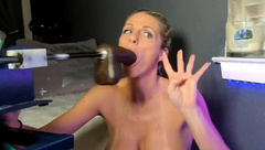 Sub Slut deepthroats fucking machine dildo and gags all time - EPIC NASTY