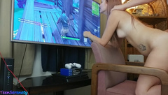 18 year old Gamer Girl Gets Creampied while playing Fortnite Battle Royale!