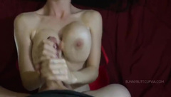hot tits babe strokes huge long cock for cum cumshot