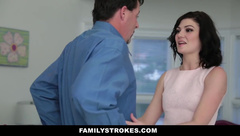 FamilyStrokes - Naughty young stepdaughter fucks step-dad while mom cooks