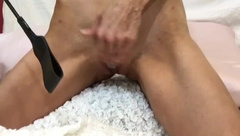Hot big tit milf self solo punishing tits spanking ass and pussy red