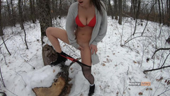 Sexy winter brunette bunny play outdoor , it's too hot to be cold 4K