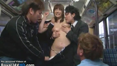 Japanese bus gangbang with busty Milf