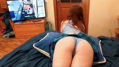 Fuck Schoolgirl Step Sister while she Play Fortnite - Amateur Creampie