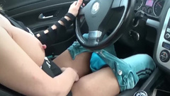 Fucking myself while Driving, my Pussy Public