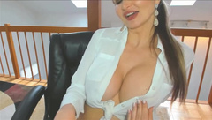 Big Tits Implants Displaced in Office Secretary Shirt
