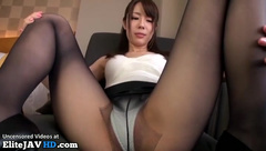 Japanese hostess in tights and uniform hotel sex